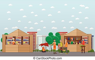 Street food festival concept vector banner. People sell from stalls in park. City cafe
