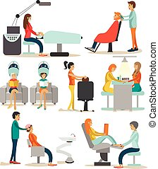 Vector set of beauty salon characters isolated on white background. Haircut, manicure, cosmetic and make up atelier.