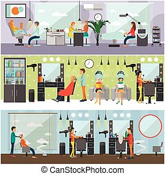 Beauty salon interior vector concept banners. Haircut, manicure and make up atelier. Women in spa studio illustration flat cartoon style