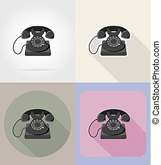 old retro vintage phone flat icons vector illustration...
