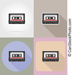 old retro vintage audiocassette flat icons vector...