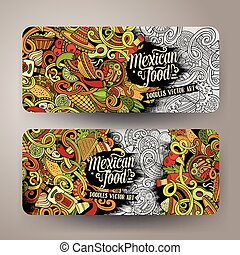 Cartoon mexican food doodles banners - Cartoon colorful...