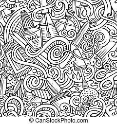 seamless,  doodles, caricatura,  manicure, Padrão