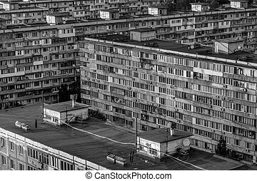 Monochrome image of old buildings at dormitory area - Black...