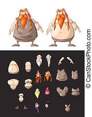 Set of interchangeable dwarf body parts - Set of vector...