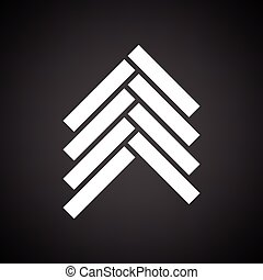 Parquet icon. Black background with white. Vector...