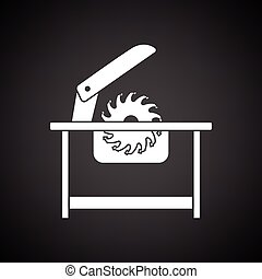 Circular saw icon. Black background with white. Vector...