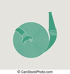 Fire hose icon. Gray background with green. Vector...