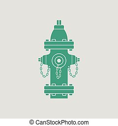 Fire hydrant icon. Gray background with green. Vector...