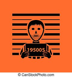 Prisoner in front of wall with scale icon. Orange background...
