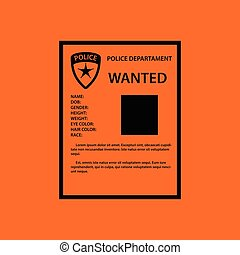 Wanted poster icon. Orange background with black. Vector...