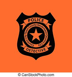Police badge icon. Orange background with black. Vector...