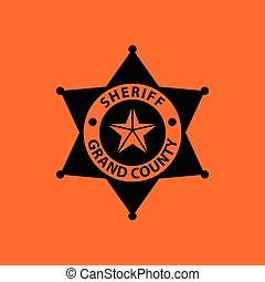 Sheriff badge icon. Orange background with black. Vector...