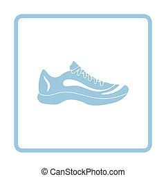 Sneaker icon. Blue frame design. Vector illustration.