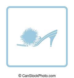 Woman pom-pom shoe icon. Blue frame design. Vector...