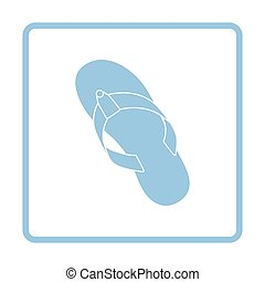 Flip flop icon. Blue frame design. Vector illustration.