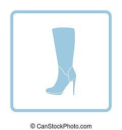 Autumn woman high heel boot icon. Blue frame design. Vector...