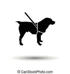 Guide dog icon. Black background with white. Vector...