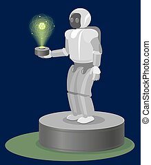 Robot on Pedestal with hologram atom structure his hand -...