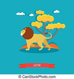 Lion. Animal concept vector poster. Design elements and...