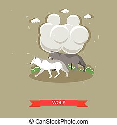 Two wolves walking in a forest - stock vector - Two wolfs...