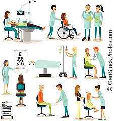 Vector set of doctors and patients characters isolated on white background. People in hospital.