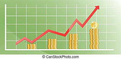 Rising chart with gold coins. Vector illustration.