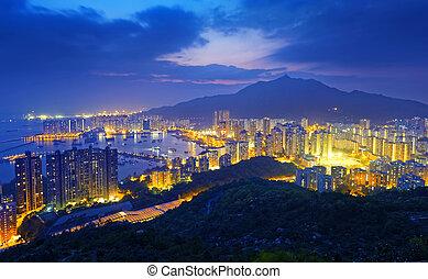 Hong Kong Tuen Mun skyline and South China sea at night