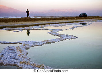 Dead sea salt and water - The water of the dead sea with...