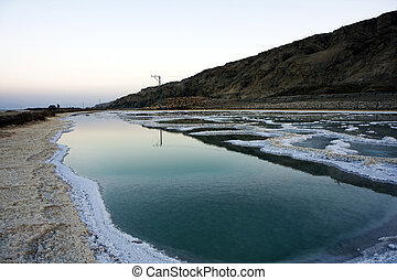 Dead sea salt and water