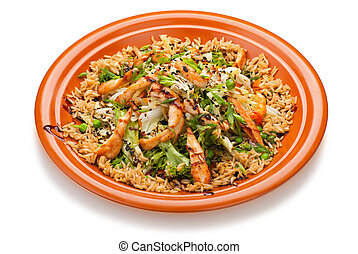 Thai Fried Rice with Chicken and vegetables