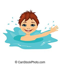 active little boy swimming happy in the water