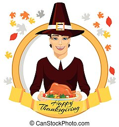 pilgrim man holding a roasted turkey behind gold ribbon with happy thanksgiving text