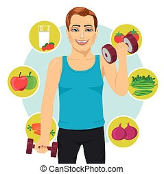 sporty man with dumbbells and variety of healthy fruits -...