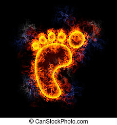 Fiery left footprint. - left footprint, covered in flames.