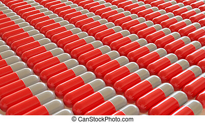 Uniform Array of Red and White Pills