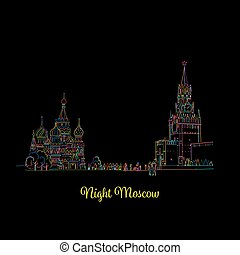 Night Moscow, Red Square, sketch for your design. Vector...