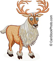 debout, renne, caractère, dessin animé,  animal