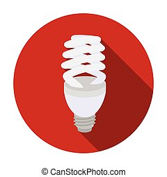 Fluorescent lightbulb icon in flat style isolated on white background. Light source symbol stock vector illustration