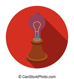 Edison's lamp icon in flat style isolated on white...