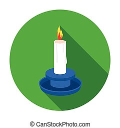 Candle icon in flat style isolated on white background....