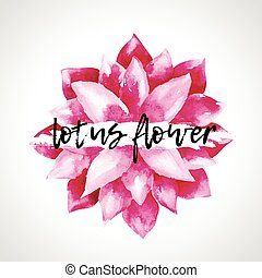 Watercolor pink lotus flowers isolated