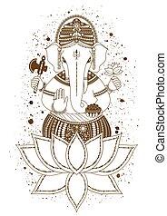Ganesha mehndi vector - Ganesha, or Ganapati, Indian deity...