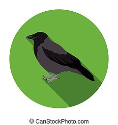Crow icon in flat style isolated on white background. Bird...