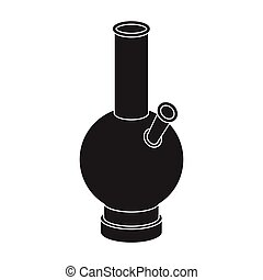 Bong icon in black style isolated on white background. Drugs...