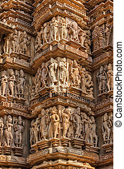 Famous sculptures of Khajuraho temples, India - Famous stone...