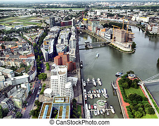 Duesseldorf Mediahafen - View of Mediahafen harbour in...