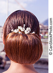 The most beautiful bride hairstyle! - Back view of a female...