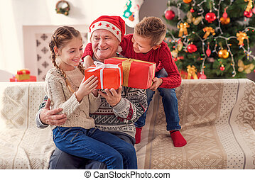 This is our best Holiday - Merry Christmas. Joyful old man...