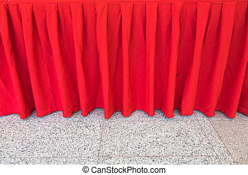Red tablecloth for decoration table in hotel